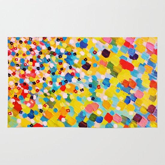 SWEPT AWAY 2 - Vibrant Colorful Rainbow Mango Yellow Waves Mermaid Splash Abstract Acrylic Painting Area & Throw Rug