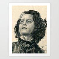Sweeney Todd ~ Johnny Depp Traditional Portrait Print Art Print