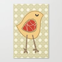 Canvas Print featuring Chirpy Bird by shiny orange dreams