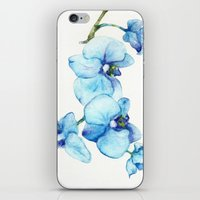 Blue Orchids - Watercolor iPhone & iPod Skin