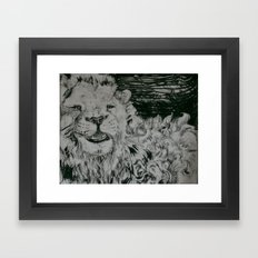 Lion and Man Framed Art Print