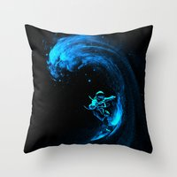 Space Surfing Throw Pillow