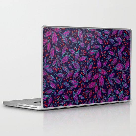 RED BERRIES PINK LEAVES Laptop & iPad Skin