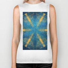 Tribal gold on blue kaleidoscope Biker Tank