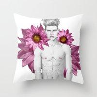 Boy & Flowers Throw Pillow