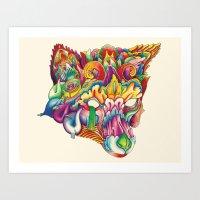 Fox in Armor Art Print