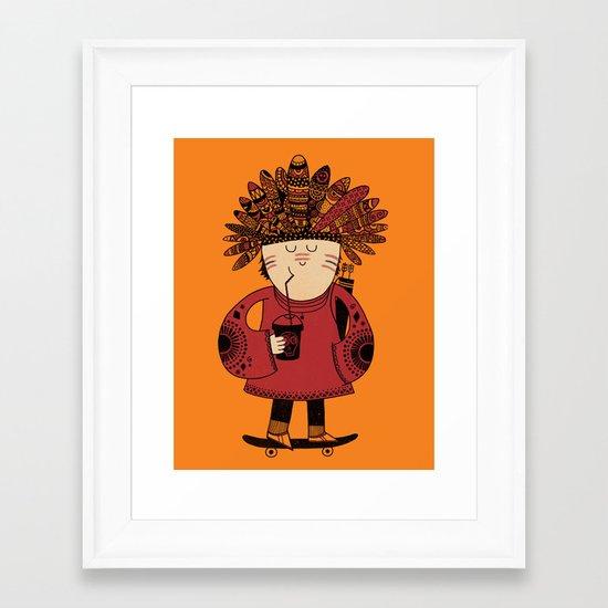 Native American Skater Boy - Orange Framed Art Print