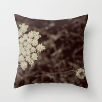 Lace Black and White Flower Throw Pillow
