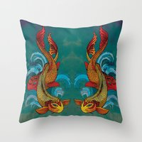 A Tale Of Two Fins. Throw Pillow