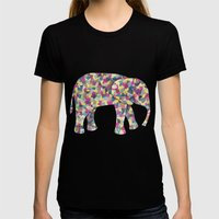Elephant Collage in Gray Hot Pink Teal and Yellow Womens Fitted Tee Black SMALL