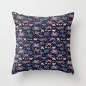 Cute vintage pattern with birds and flowers Throw Pillow