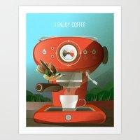 Hummingbird Enjoys Coffe… Art Print