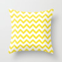funky chevron yellow pattern Throw Pillow
