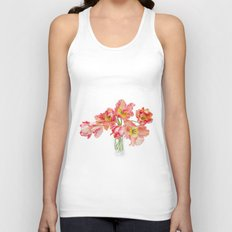 Parrot Tulips in a Glass Vase Unisex Tank Top