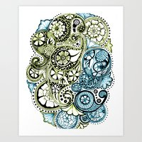 Blue Lime Paisley Art Print