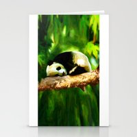 Baby Panda Resting - Painting Style Stationery Cards