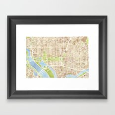 Washington DC watercolor city map Framed Art Print