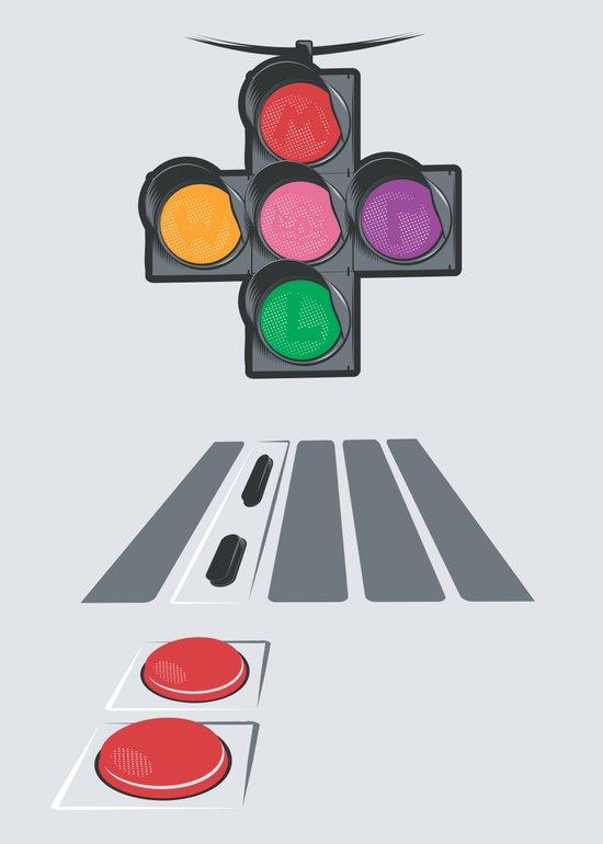 N Street Traffic Light Art Print