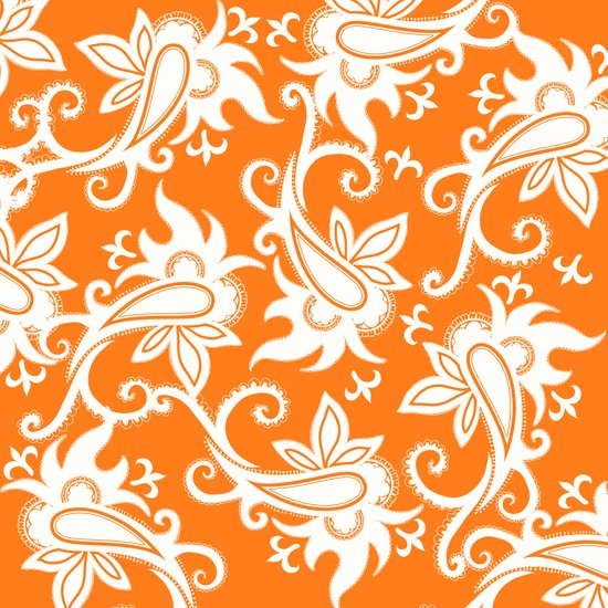Paisley: Orange Ivory Art Print
