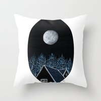 House At Night Throw Pillow