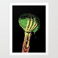 Zombie Skeleton Brain Vintage Art Print