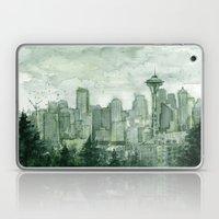 Seattle Skyline Watercolor Space Needle Green Painting  Laptop & iPad Skin