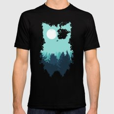 Winter Owl Mens Fitted Tee SMALL Black