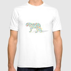Technicolor Jaguar White Mens Fitted Tee SMALL