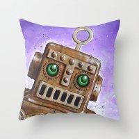 i.Friend: Steam Punk Robot Throw Pillow