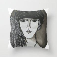 Bright Eyed Girl Throw Pillow