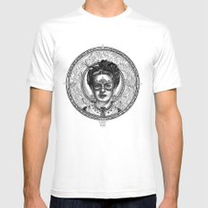 FRIDA SAVAGGE. White Mens Fitted Tee SMALL