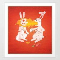 Fire Bunny Art Print