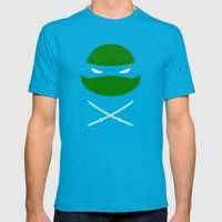TMNT Leo Poster Mens Fitted Tee Teal SMALL