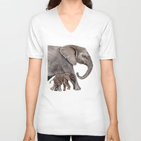 V-neck T-shirt featuring Elephants by Goosi