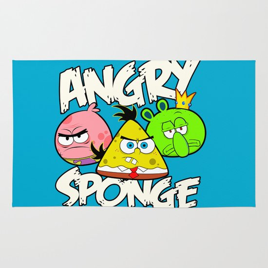Angry Spongebird - Angry Birds vs SpongeBob Area & Throw Rug