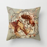 Honey & Sorrow (grey) Throw Pillow