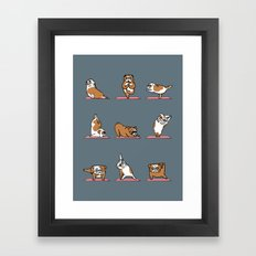 English Bulldog Yoga Framed Art Print