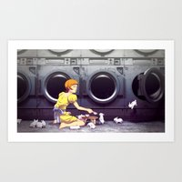 Bunny Laundry Tea Time Art Print