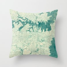 Sydney Map Blue Vintage Throw Pillow
