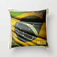 Sticker Of Brazil Flag Throw Pillow