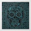 Skull, aqua Canvas Print