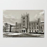 Northern Illinois University Castle - Black and White Canvas Print