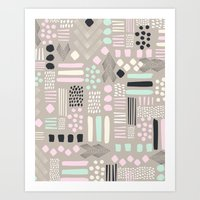 Pastel Tribal Patchwork Art Print