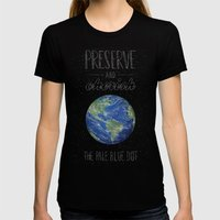 Pale Blue Dot Womens Fitted Tee Black SMALL