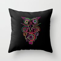 Owl Pink Throw Pillow