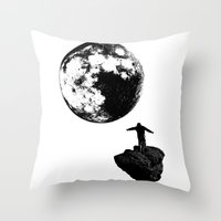 Boy and the Moon Throw Pillow