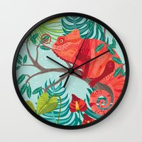 The Red Chameleon  Wall Clock
