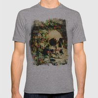 floral skully 2 Mens Fitted Tee Athletic Grey SMALL
