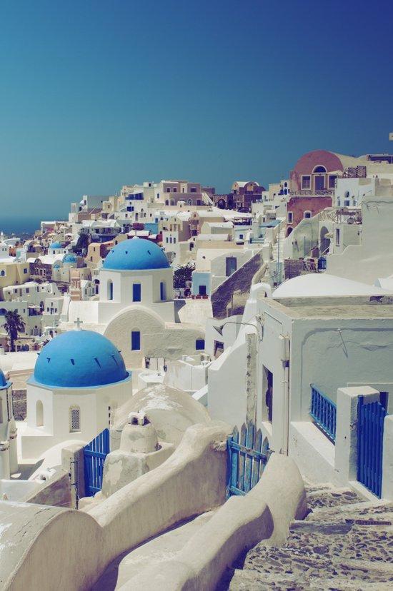 Blue Domes, Oia, Santorini, Greece Art Print