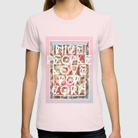 Nice People Love Popcorn Womens Fitted Tee Light Pink SMALL